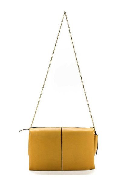 Celine Womens Medium Gold Tone Trifold Clutch On Chain Handbag Beige Leather    eBay