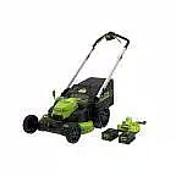 Greenworks PRO 25 in. 60-Volt Self Propelled Lawn Mower w/ (2) 4.0 Ah Battery & Charger