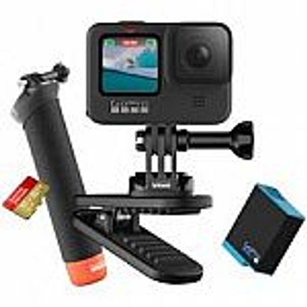 GoPro HERO9 Black + 1 Yr. Subscription + Extra Battery + 32GB Card + Swivel Clip + Hand Grip + Camera Case