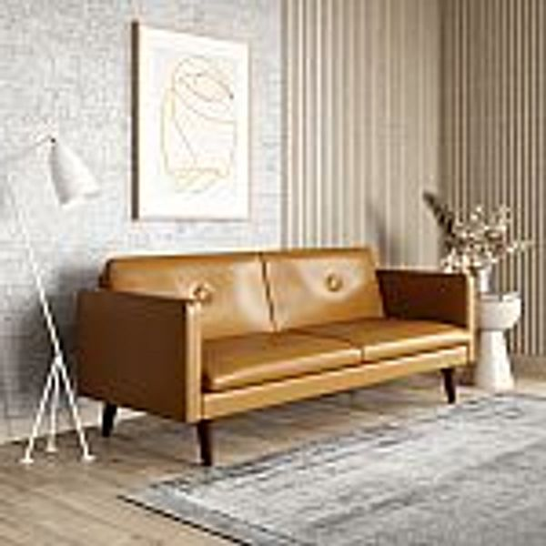"72"" Serta Laurel 3-Seat Tan Convertible Sleeper Sofa"