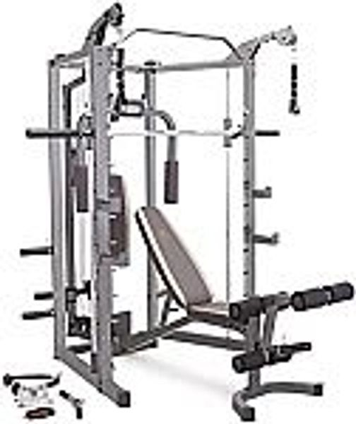 Marcy Smith Cage Machine with Workout Bench and Weight Bar @Amazon
