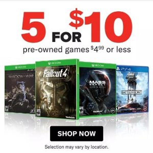 Gamestop Pre Owned Game Sale