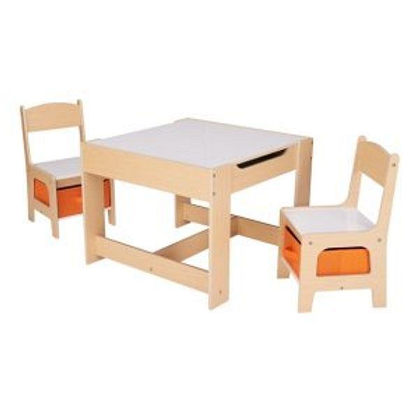 Senda Kids' Wooden Storage Table and Chairs Set, 3 Piece @Walmart