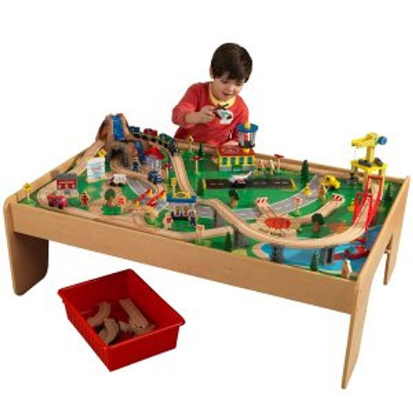 KidKraft Waterfall Mountain Train Set & Table with 120 Accessories Included