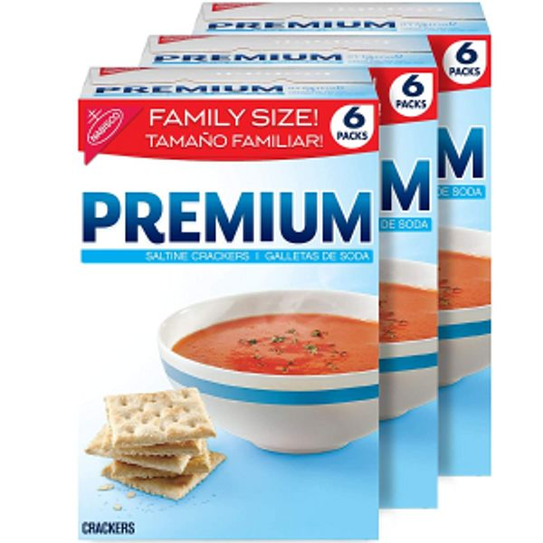 Premium Saltine Crackers, Family Size, 6 Count (Pack of 3)