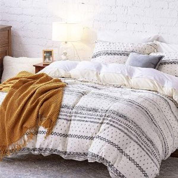 Bedsure 80% Cotton 20% Linen Duvet Cover Set