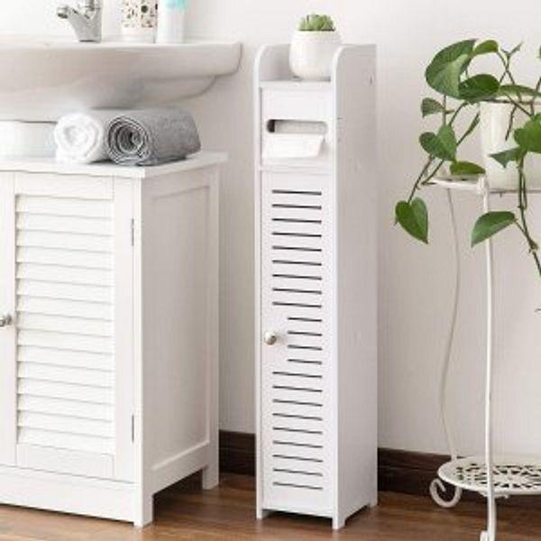 AOJEZOR Small Bathroom Storage Corner Floor Cabinet with Doors and Shelves