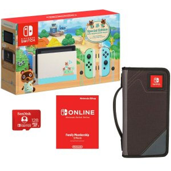 Nintendo Switch + Carrying Case + 12-Month Membership + 128GB Card