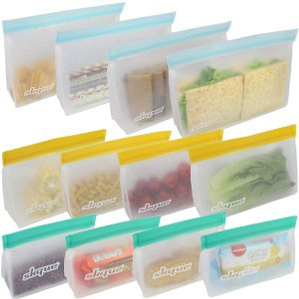 SKQUE 12 Pack Extra Thick Reusable Storage Bags