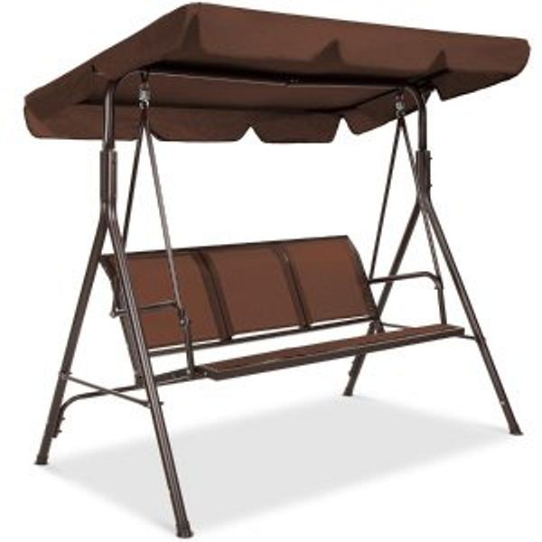 3-Seater Outdoor Canopy Swing Glider Bench w/ Textilene Fabric, Steel Frame @Best Choice Products