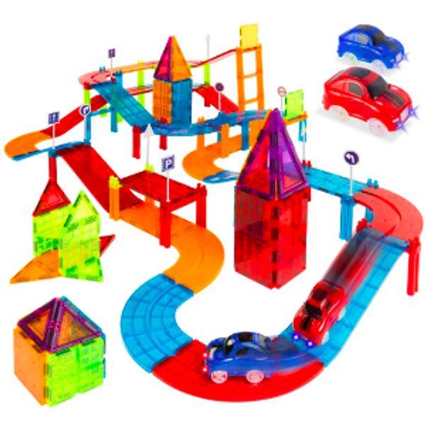 Best Choice Products 105-Piece Kids Magnetic Tile Car Race Track STEM Building Toy Set w/ 2 Cars