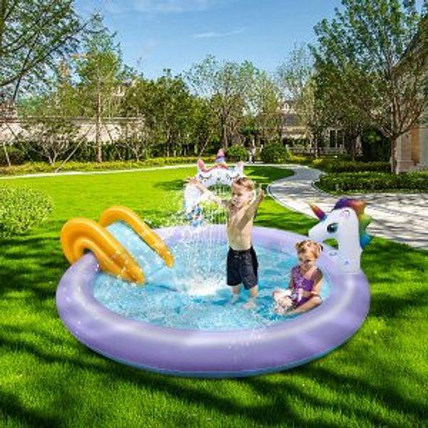 KIDCHEER Kiddie Pool with Slide Inflatable Sprinkler Outdoor Toys