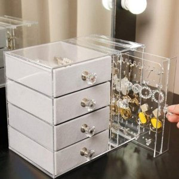 Cq acrylic Jewelry Box for Women with 4 Drawers