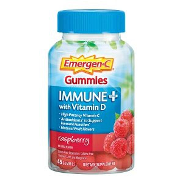 Emergen-C Immune+ Immune Gummies, Vitamin D plus 750 mg Vitamin C Raspberry Flavor - 45 Count