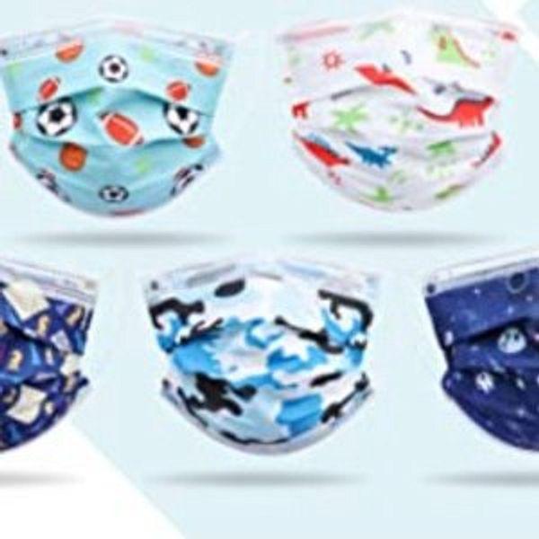 Single Use Disposable Small Size Blue Box Cartoon Pattern Mask for Children Kids @Amazon