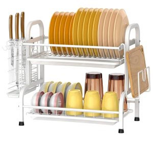 Veckle Dish Drying Rack, 2 Tier Stainless Steel