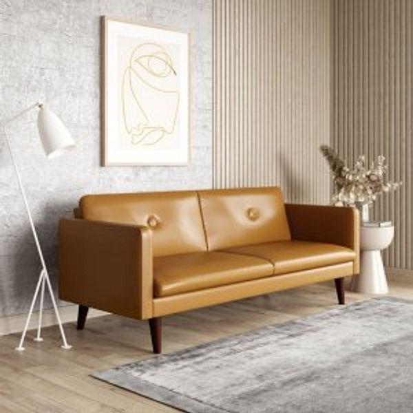 Serta Laurel 3-Seat Mid-Century Convertible Sleeper Sofa with Vegan Leather, Camel