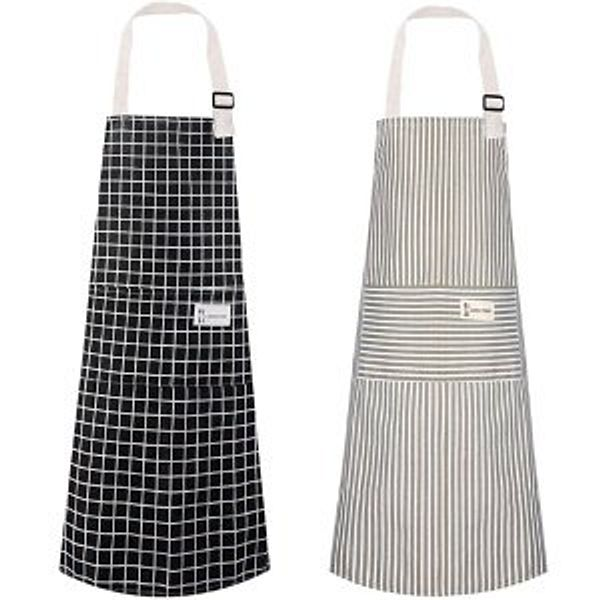 Polma Aprons Cotton Linen Adjustable Bib Aprons with 2 Pockets @Amazon