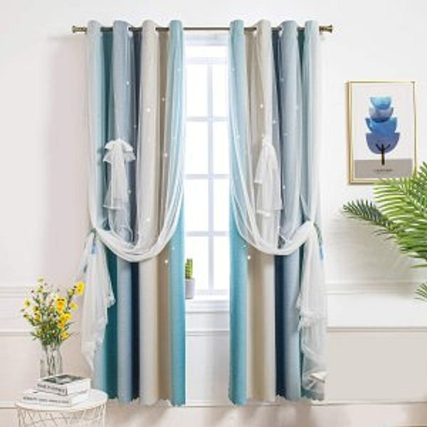 Hughapy Star Curtains for Girls Bedroom Kids Room @Amazon