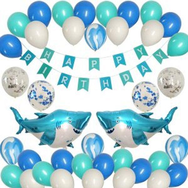 JAYKIDS Shark Balloons Ocean Theme Party Supplies @Amazon
