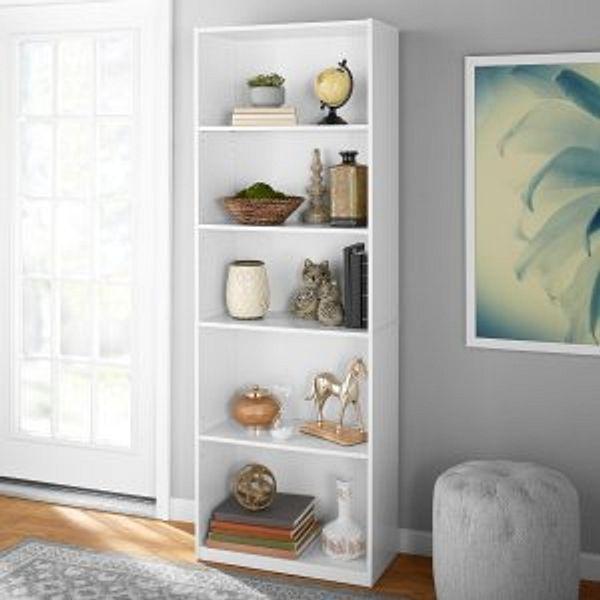 "Mainstays 71"" 5 Shelf Bookcase, White"