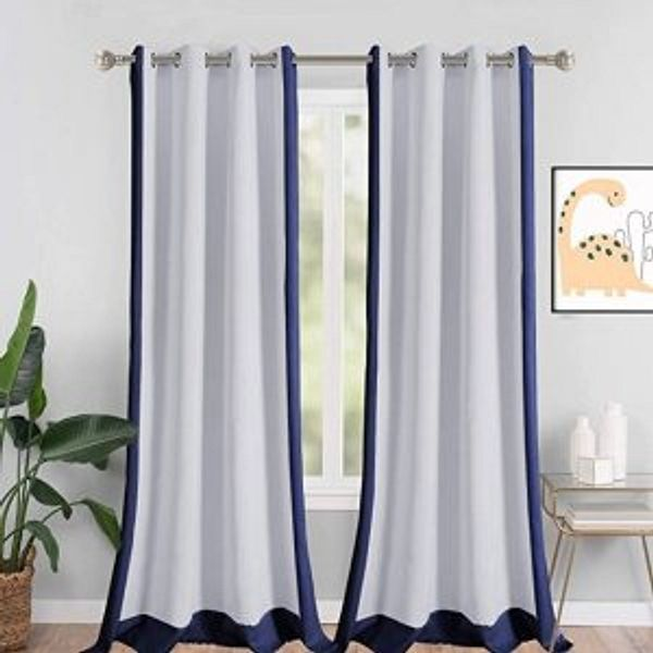 LORDTEX Color Block Blackout Curtains for Kids Room @Amazon