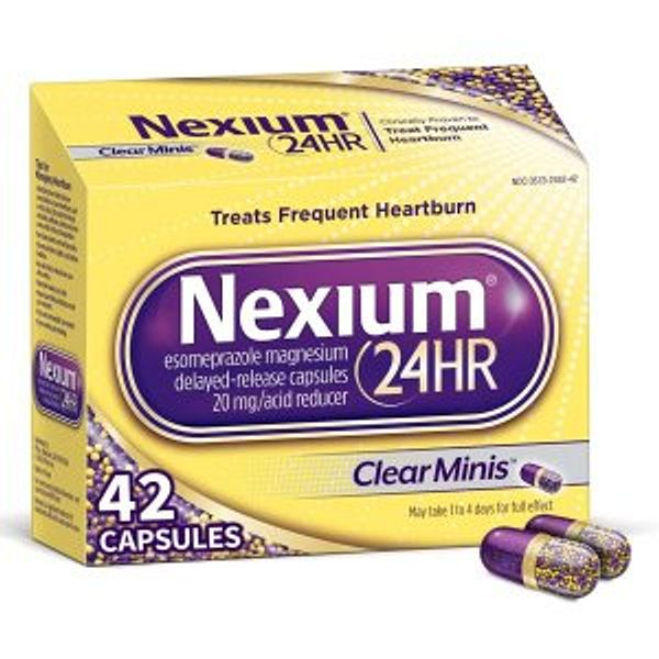 Nexium 24HR (42 Count, ClearMinis) All-Day, All-Night Protection from Frequent Heartburn Medicine with Esomeprazole Magnesium 20mg @Amazon