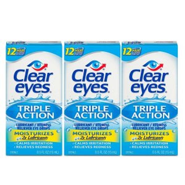 Clear Eyes Eye Drops, Triple Action Lubricant, 0.5 oz, Pack of 3 @Amazon