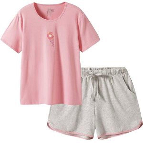 SANQIANG 2 Pcs Women's Sleepwear Lightweight Cotton Spandex Stretchy Short Pajamas Set for Women