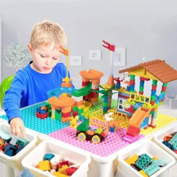 Upgrade Toddler Activity Table & Chair Set with 230PCS Building Blocks @Amazon