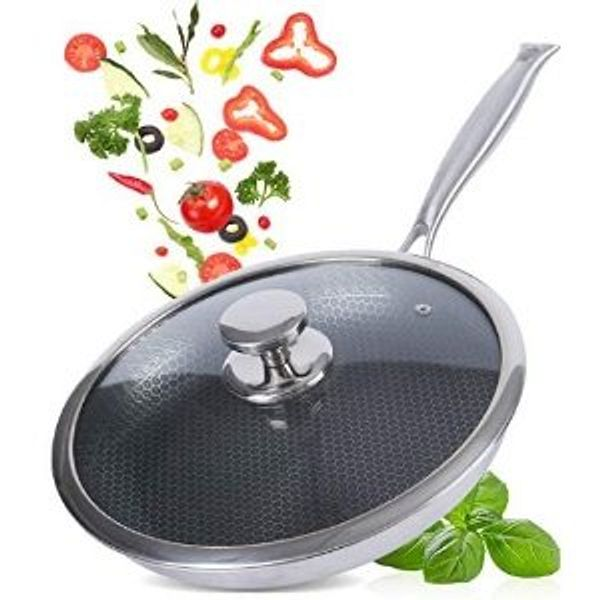 FCUS Frying Pan Stainless Steel Honeycomb Grill Cooking Pan