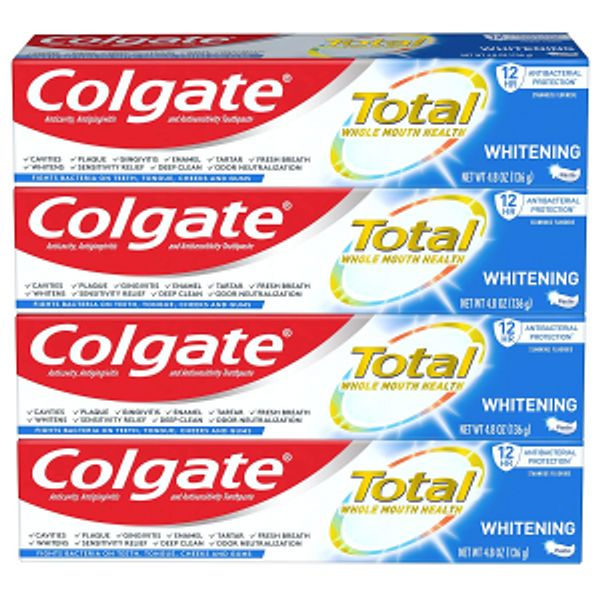 Colgate Total Whitening Toothpaste with Stannous Fluoride and Zinc, Exclusive, Whitening Mint, 4.8 Oz (Pack of 4)