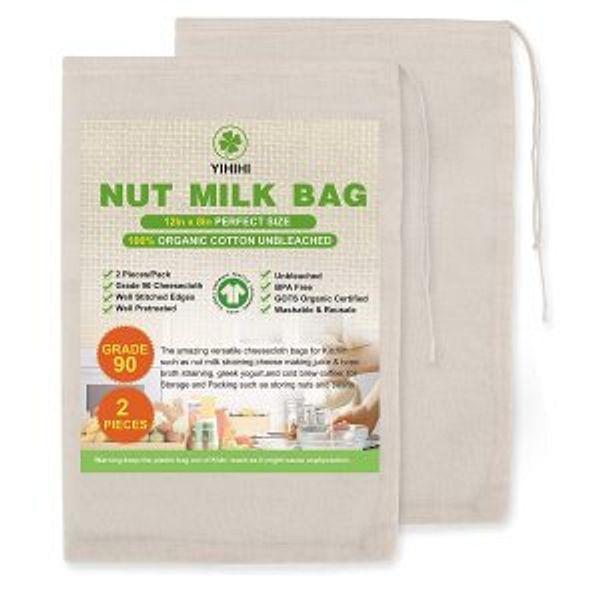 "Yihihi Premium Nut Milk Bags, 100% Organic Cheesecloth Bags, 8"" x 12"", 2 Pieces @Amazon"