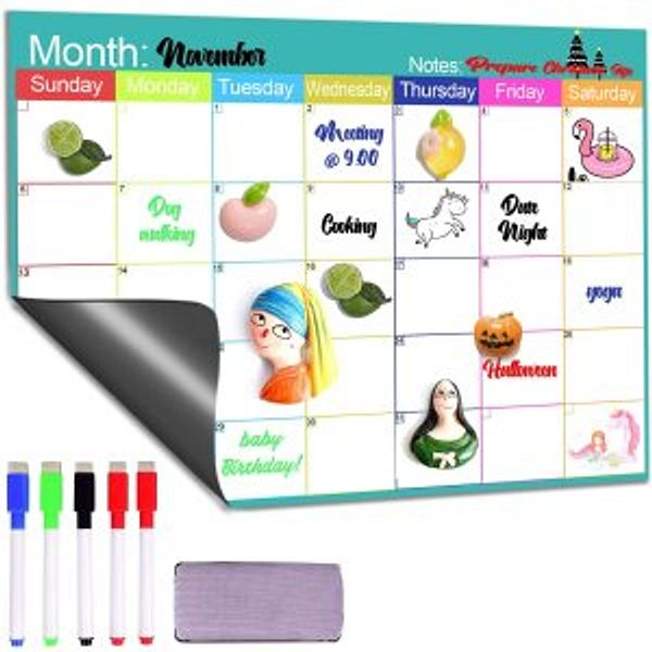 CozyHome Fridge Calendar Magnetic Dry Erase @Amazon