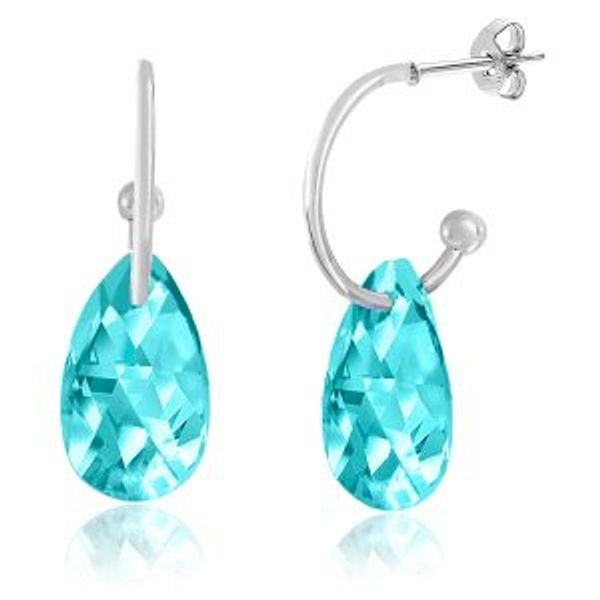 Lesa Michele Aquamarine Crystal Teardrop Earrings