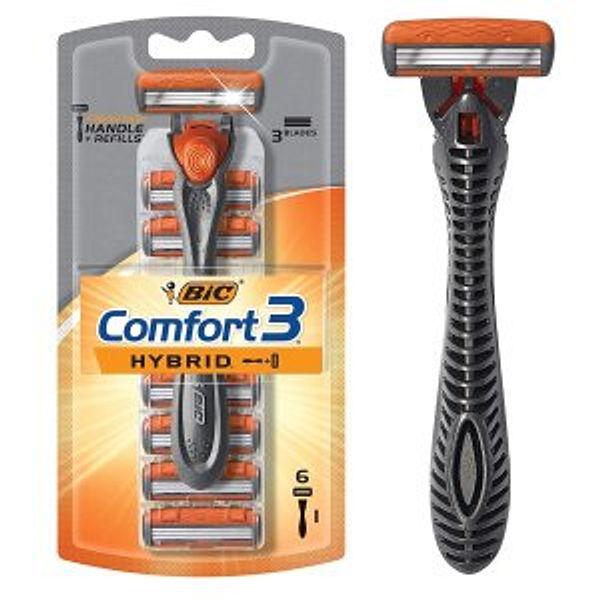 BIC Comfort 3 Hybrid Men's 3-Blade Disposable Razor, 1 Handle and 6 Cartridges