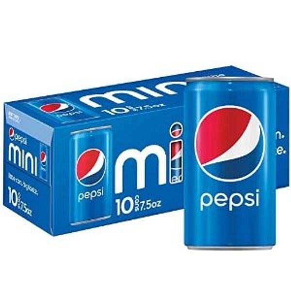 Pepsi Soda, 7.5 Ounce Mini Cans, 10 Pack