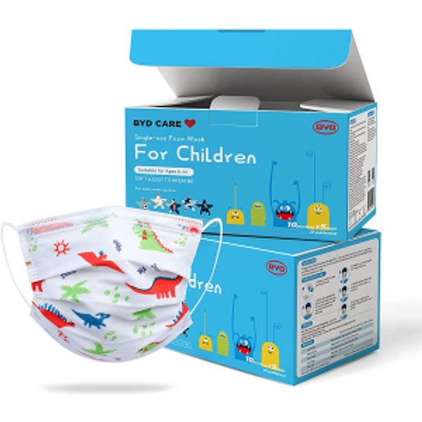 Single Use Disposable Small Size Blue Box Cartoon Pattern Mask for Children Kids