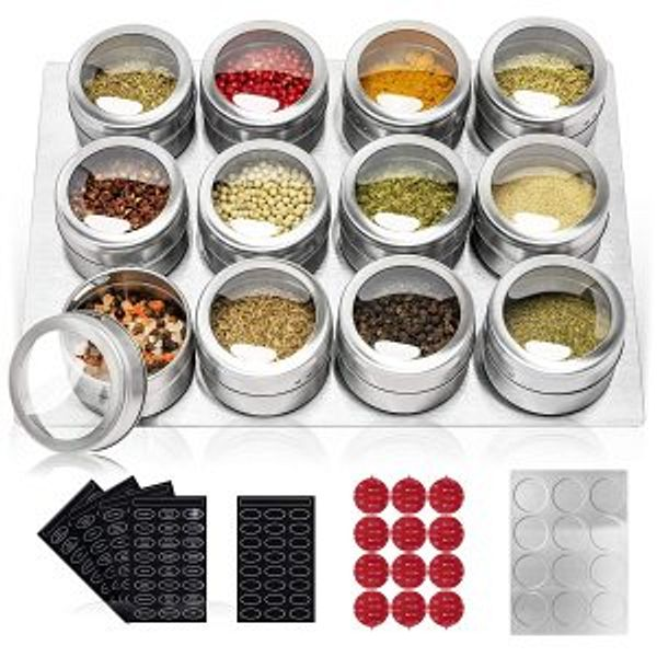 SZILBZ 12 Stainless Steel Spice Tins with Wall Mounted, Magnetic Spice Jar with Labels