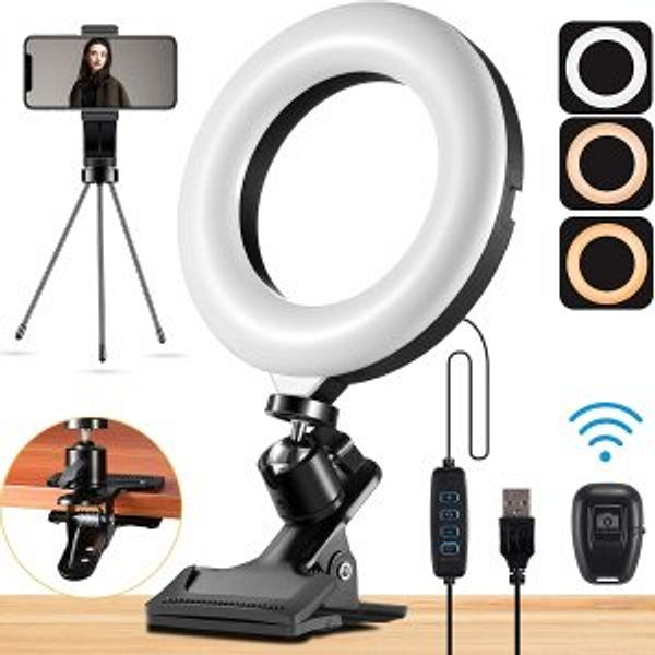 """Mastten Ring Light for Laptop Phone, 6"""" Mini Ring Light with Clip Clamp Mount @Amazon"""