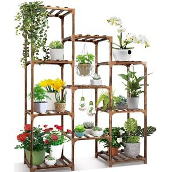 Plant Stand Indoor Outdoor,CFMOUR 10 Tire Tall Large Wood Plant Shelf @Amazon