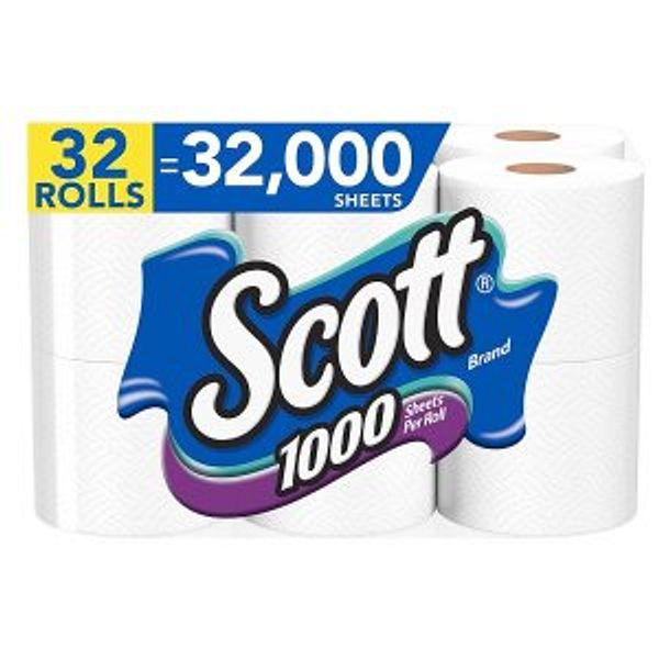 Scott 1000 Sheets Per Roll Toilet Paper, 32 Rolls