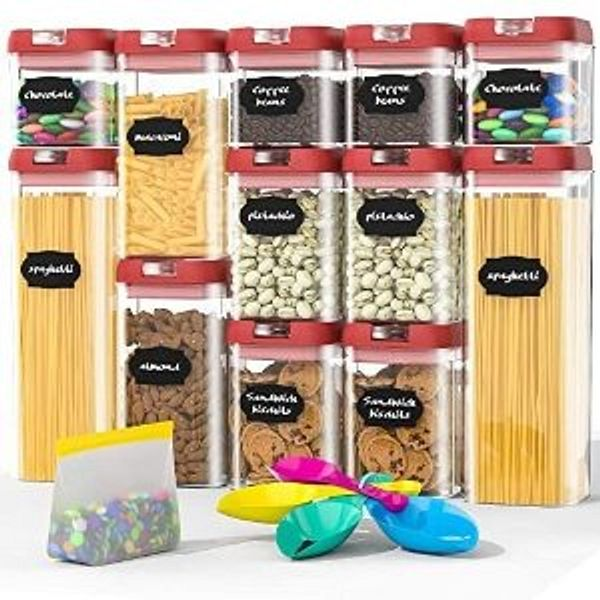 Airtight Food Storage Containers Set Includes Spoon and a Small Food Storage Bag (12 Pieces)