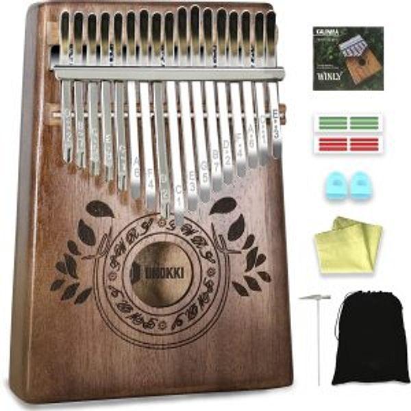 UNOKKI Mahogany Kalimba 17-Key Thumb Piano with Instruction Book and Tuning Hammer