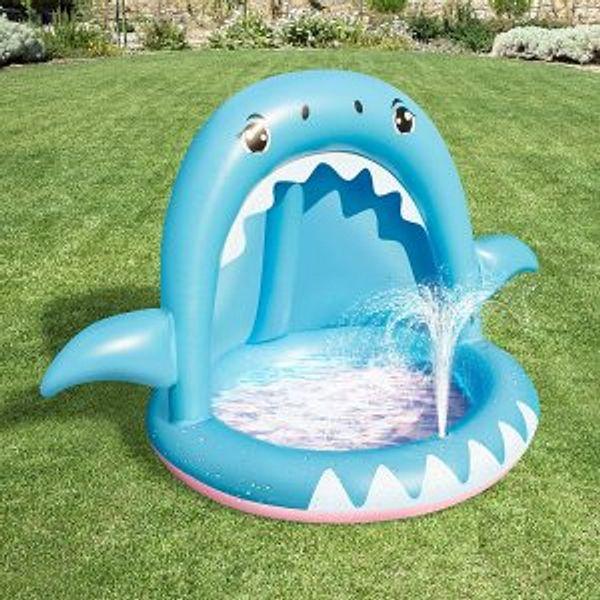 Baby Pool,Shark Sprinkler Inflatable Kiddie Pool