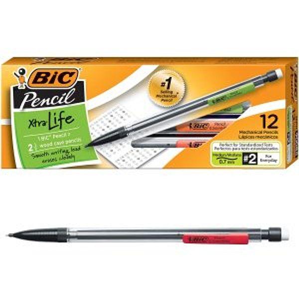 BIC Xtra-Life Mechanical Pencil, Clear Barrel,  0.7mm, 12-Count