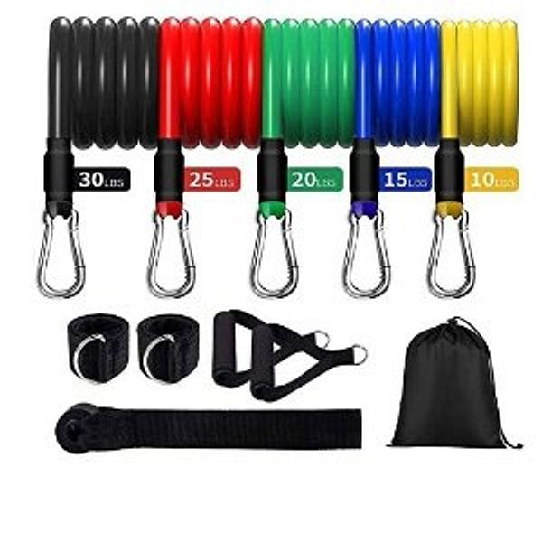 Aleath Resistance Bands Set Exercise Bands, Home Workout Bands for Men Women with Handles/Door Anchor/Ankle Straps - Resistance Training,Home Workouts Gym -11PCS