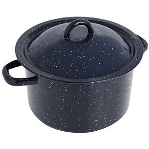 IMUSA USA Blue 6-Quart Speckled Enamel Stock Pot with Lid