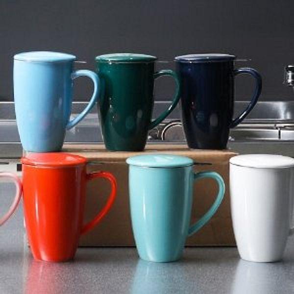 SWEEJAR Porcelain Tea Mug with Infuser and Lid