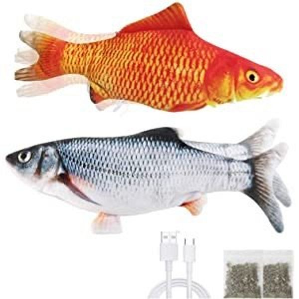 """Derebir 2 Pack 11"""" Electric Moving Fish Cat Toy"""